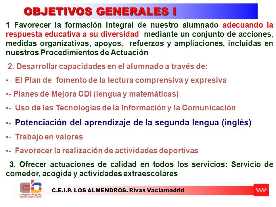 C.E.I.P.LOS ALMENDROS. Rivas Vaciamadrid OBJETIVOS GENERALES II 4.