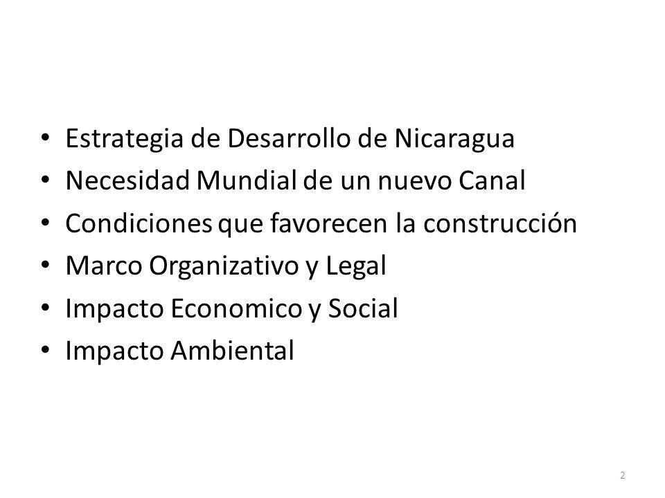 Estrategia de Desarrollo de Nicaragua Necesidad Mundial de un nuevo Canal Condiciones que favorecen la construcción Marco Organizativo y Legal Impacto