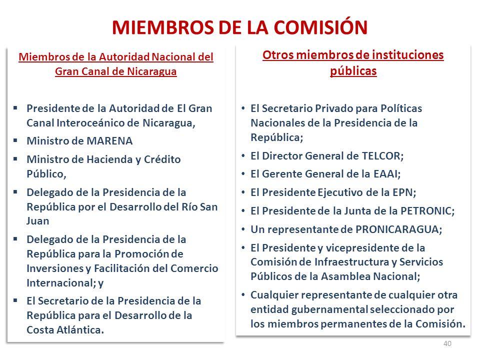 MIEMBROS DE LA COMISIÓN 40 Miembros de la Autoridad Nacional del Gran Canal de Nicaragua Presidente de la Autoridad de El Gran Canal Interoceánico de