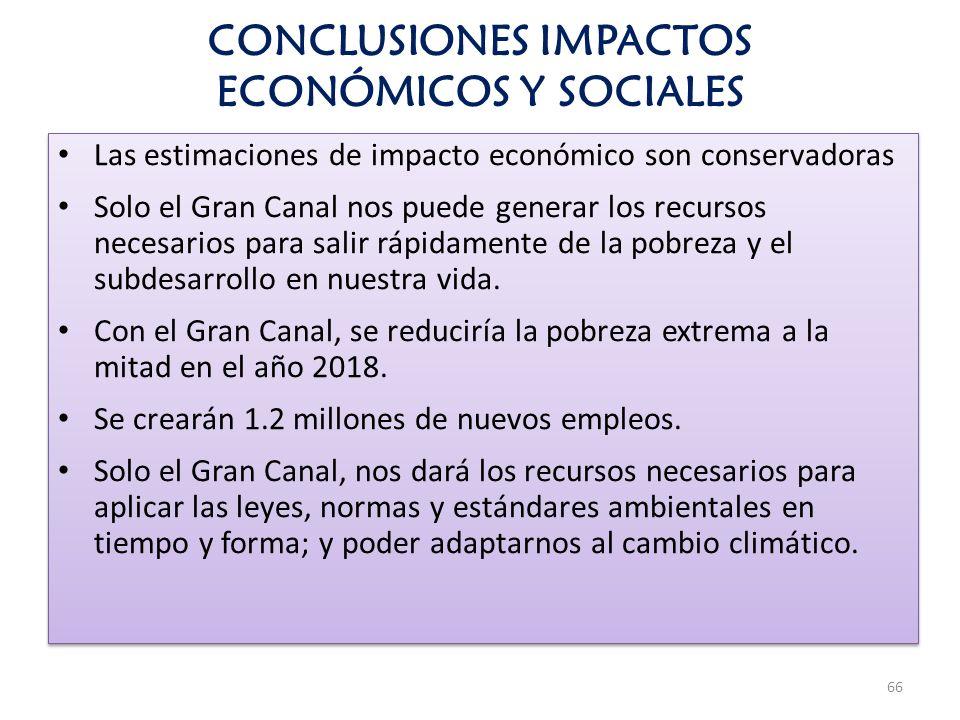 CONCLUSIONES IMPACTOS ECONÓMICOS Y SOCIALES Las estimaciones de impacto económico son conservadoras Solo el Gran Canal nos puede generar los recursos