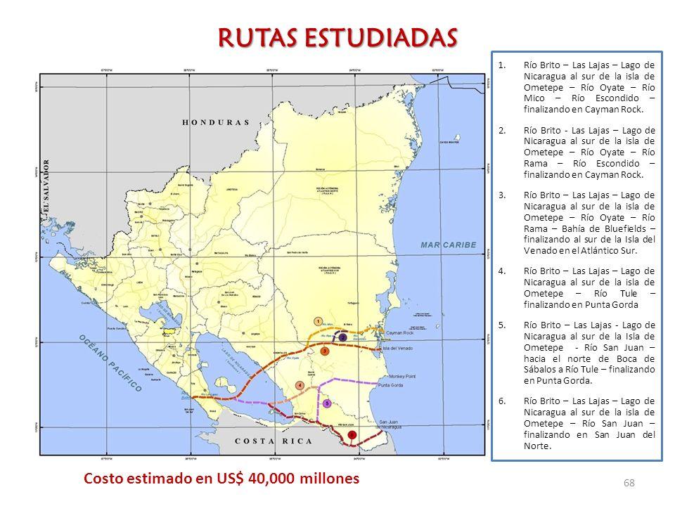 RUTAS ESTUDIADAS 68 1.Río Brito – Las Lajas – Lago de Nicaragua al sur de la isla de Ometepe – Río Oyate – Río Mico – Río Escondido – finalizando en C