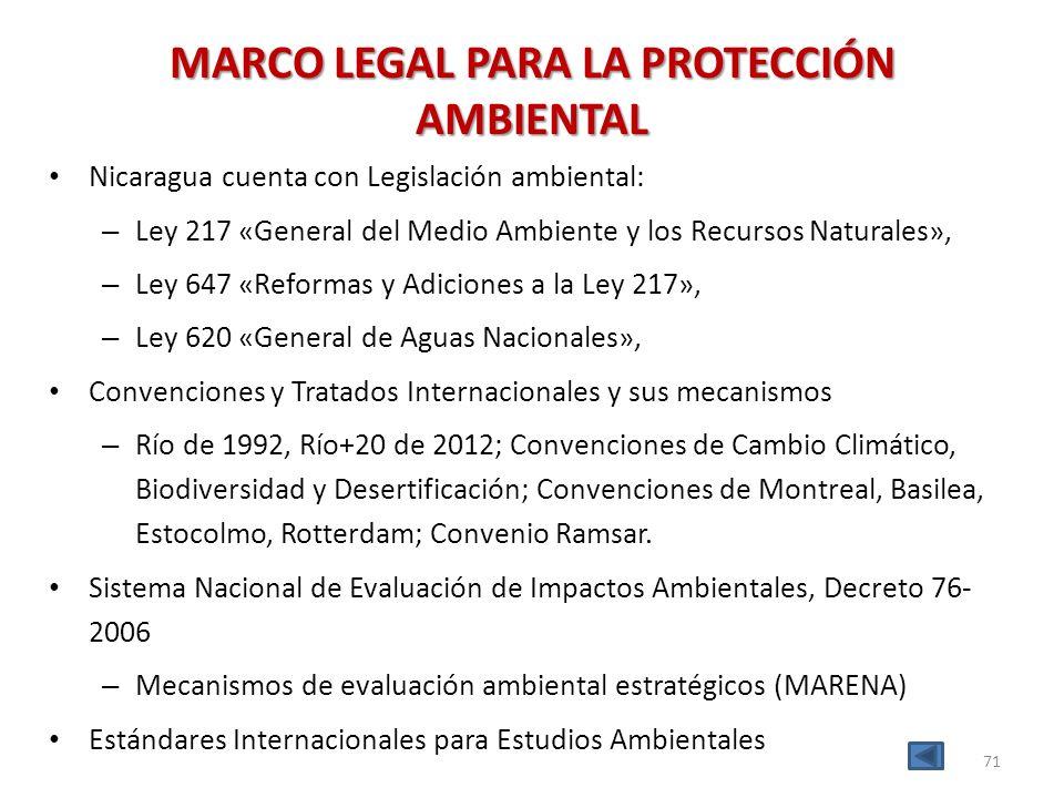 MARCO LEGAL PARA LA PROTECCIÓN AMBIENTAL Nicaragua cuenta con Legislación ambiental: – Ley 217 «General del Medio Ambiente y los Recursos Naturales»,
