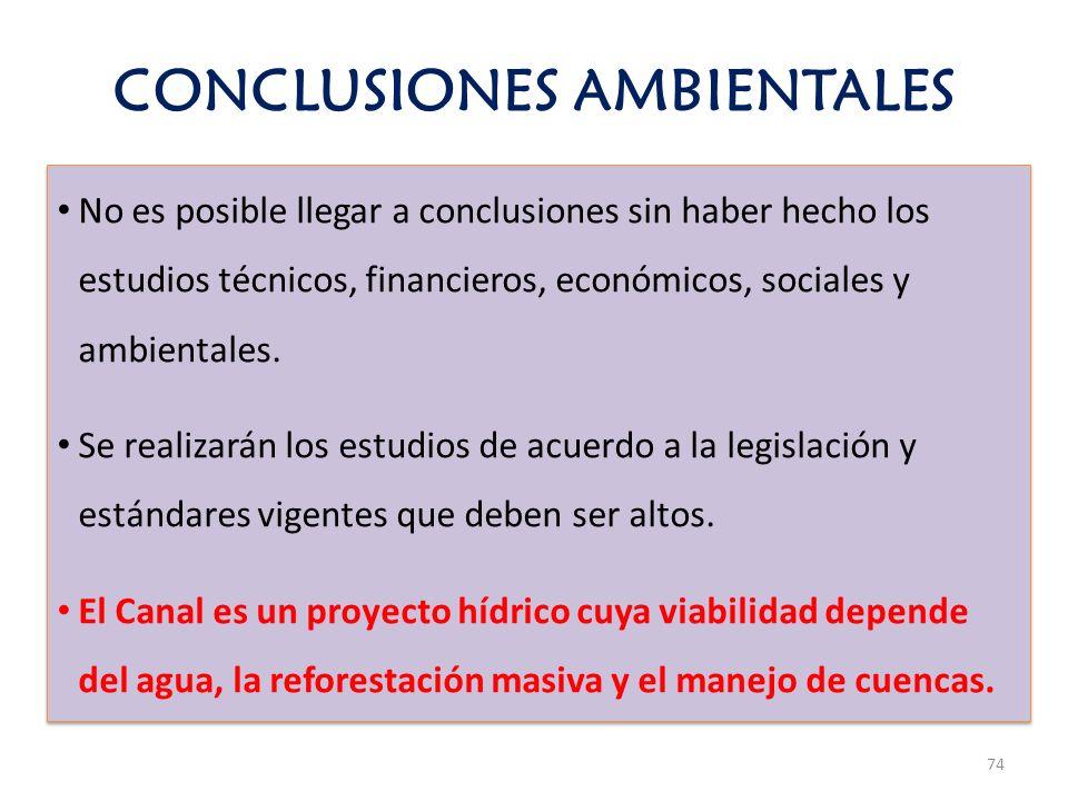 CONCLUSIONES AMBIENTALES 74 No es posible llegar a conclusiones sin haber hecho los estudios técnicos, financieros, económicos, sociales y ambientales