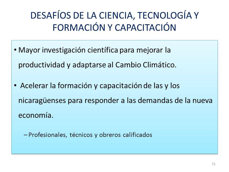 DESAFÍOS DE LA CIENCIA, TECNOLOGÍA Y FORMACIÓN Y CAPACITACIÓN Mayor investigación científica para mejorar la productividad y adaptarse al Cambio Climá
