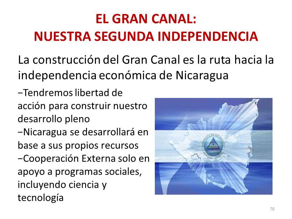 EL GRAN CANAL: NUESTRA SEGUNDA INDEPENDENCIA 76 La construcción del Gran Canal es la ruta hacia la independencia económica de Nicaragua Tendremos libe