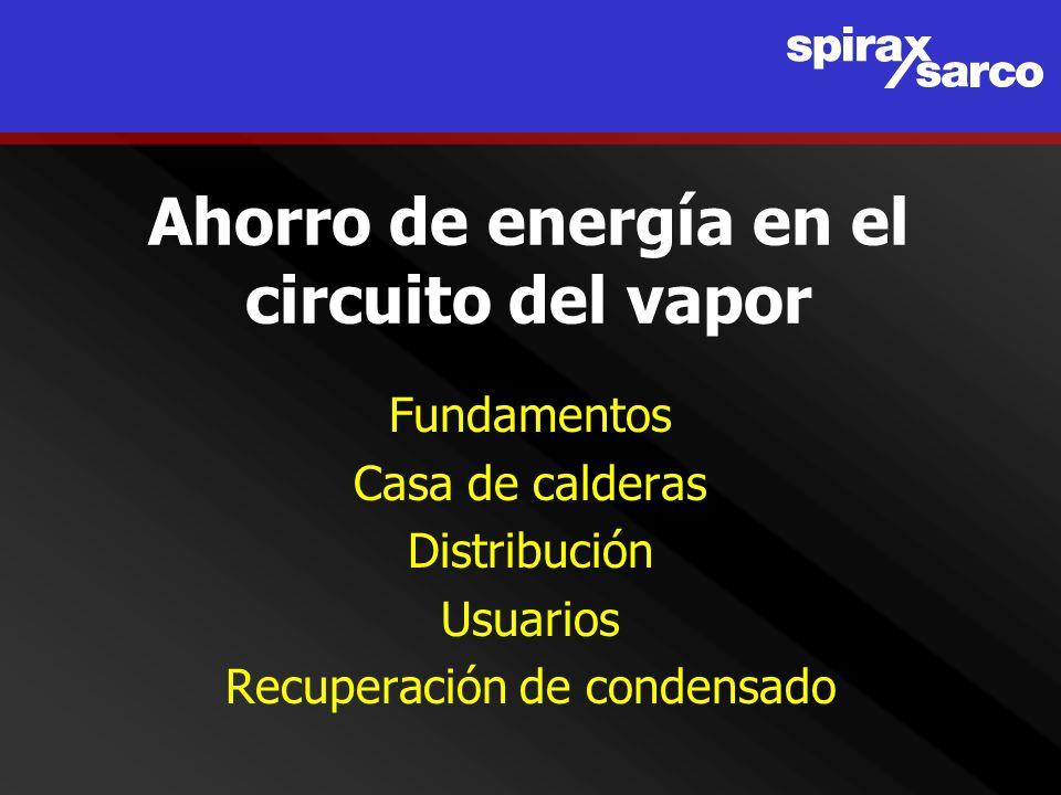 Ahorro de energía en el circuito del vapor Fundamentos Casa de calderas Distribución Usuarios Recuperación de condensado