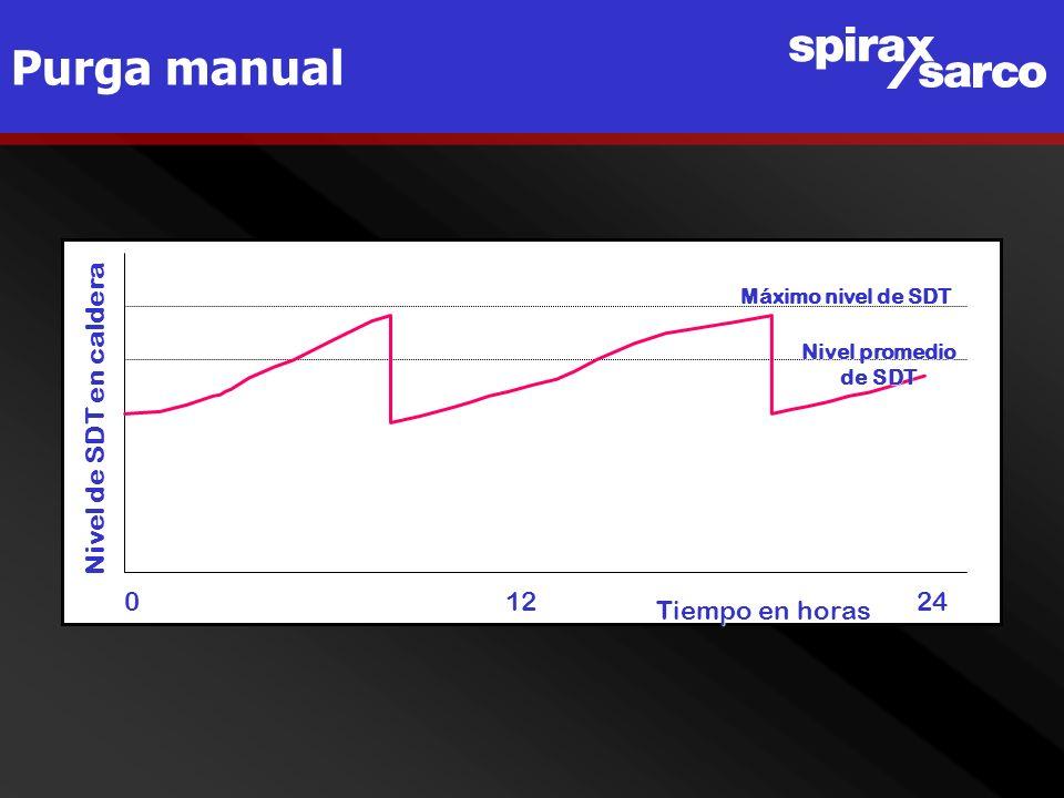 Purga manual Nivel de SDT en caldera 0 12 24 Tiempo en horas Máximo nivel de SDT Nivel promedio de SDT