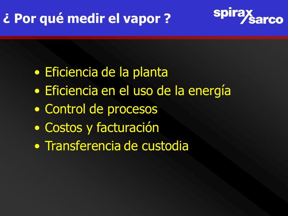 ¿ Por qué medir el vapor ? Eficiencia de la planta Eficiencia en el uso de la energía Control de procesos Costos y facturación Transferencia de custod