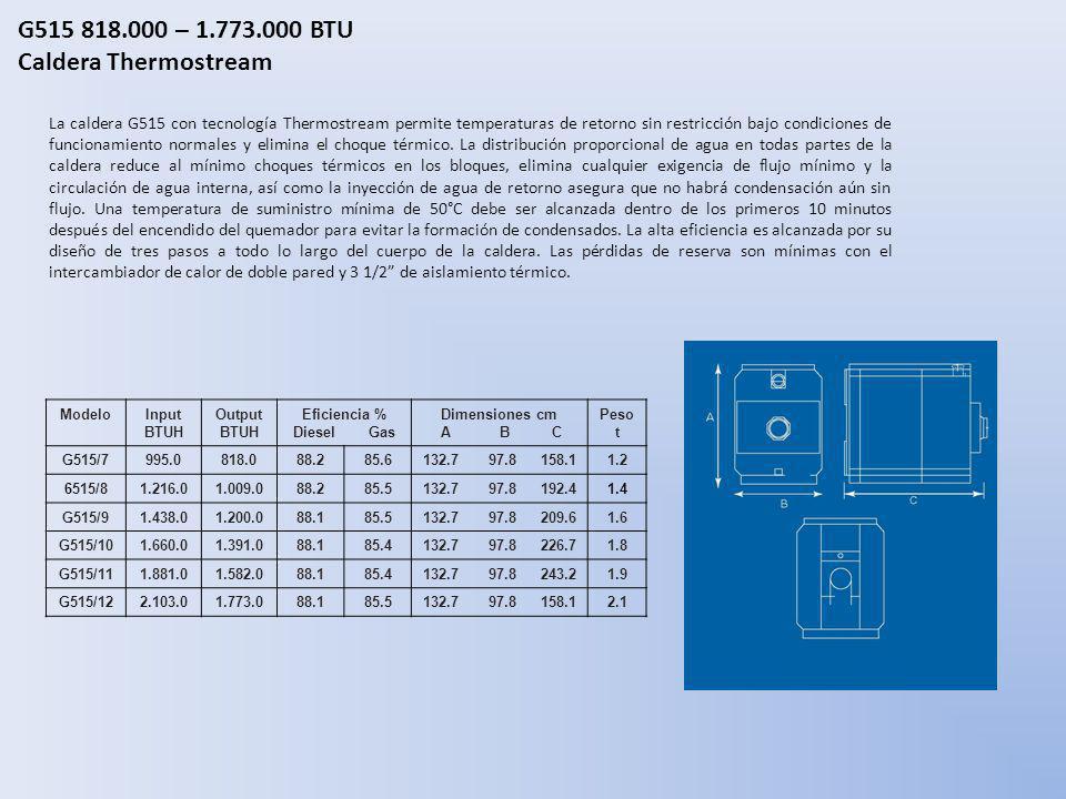 G515 818.000 – 1.773.000 BTU Caldera Thermostream La caldera G515 con tecnología Thermostream permite temperaturas de retorno sin restricción bajo con