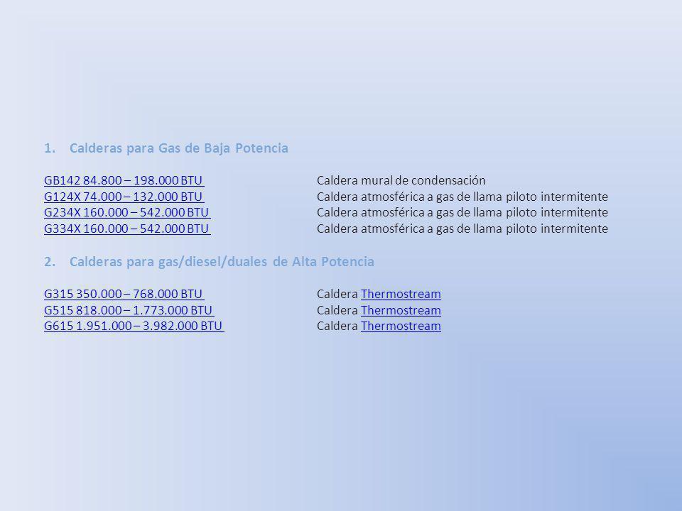 1.Calderas para Gas de Baja Potencia GB142 84.800 – 198.000 BTU GB142 84.800 – 198.000 BTU Caldera mural de condensación G124X 74.000 – 132.000 BTU G1