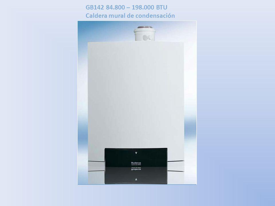 GB142 84.800 – 198.000 BTU Caldera mural de condensación La GB142 está diseñada con un intercambiador de calor de aluminio y controles integrados.