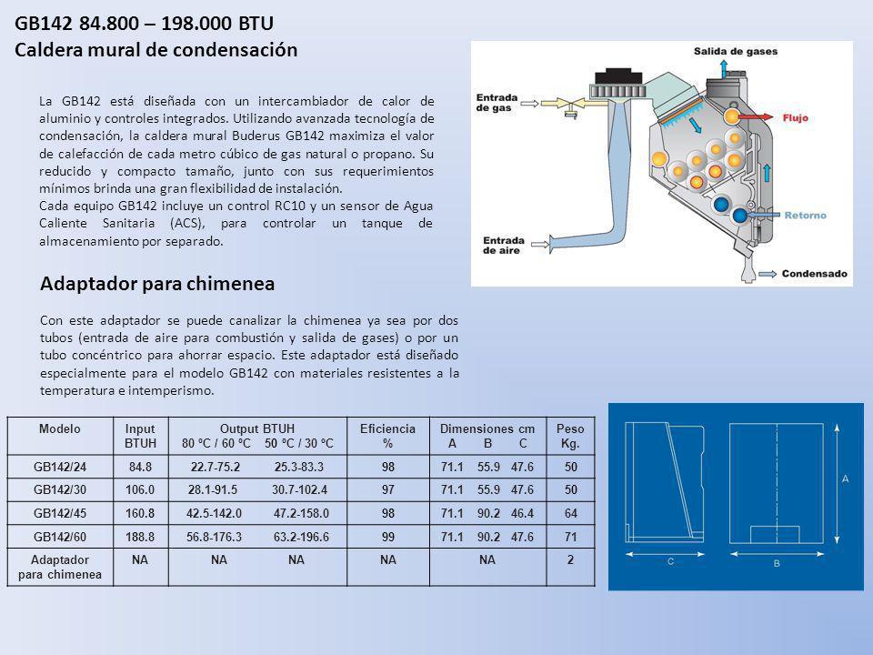 GB142 84.800 – 198.000 BTU Caldera mural de condensación La GB142 está diseñada con un intercambiador de calor de aluminio y controles integrados. Uti