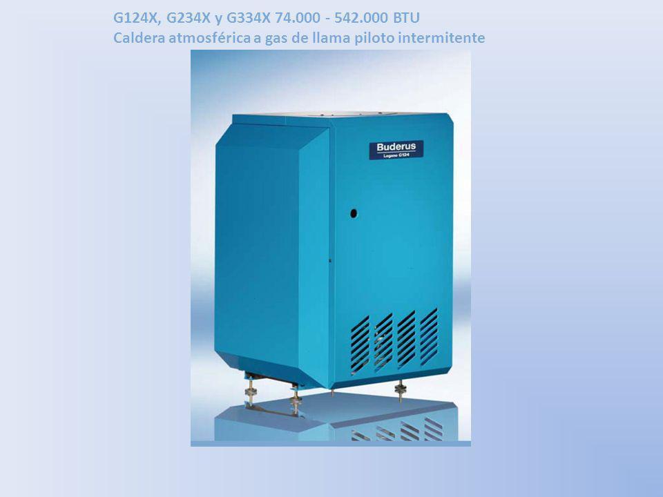 G124X, G234X y G334X 74.000 - 542.000 BTU Caldera atmosférica a gas de llama piloto intermitente La serie de calderas G124X, G234X y G334X se caracteriza por su operación de baja temperatura, fundición gris especial y bajas emisiones, con requerimientos mínimos de piso para espacios pequeños.