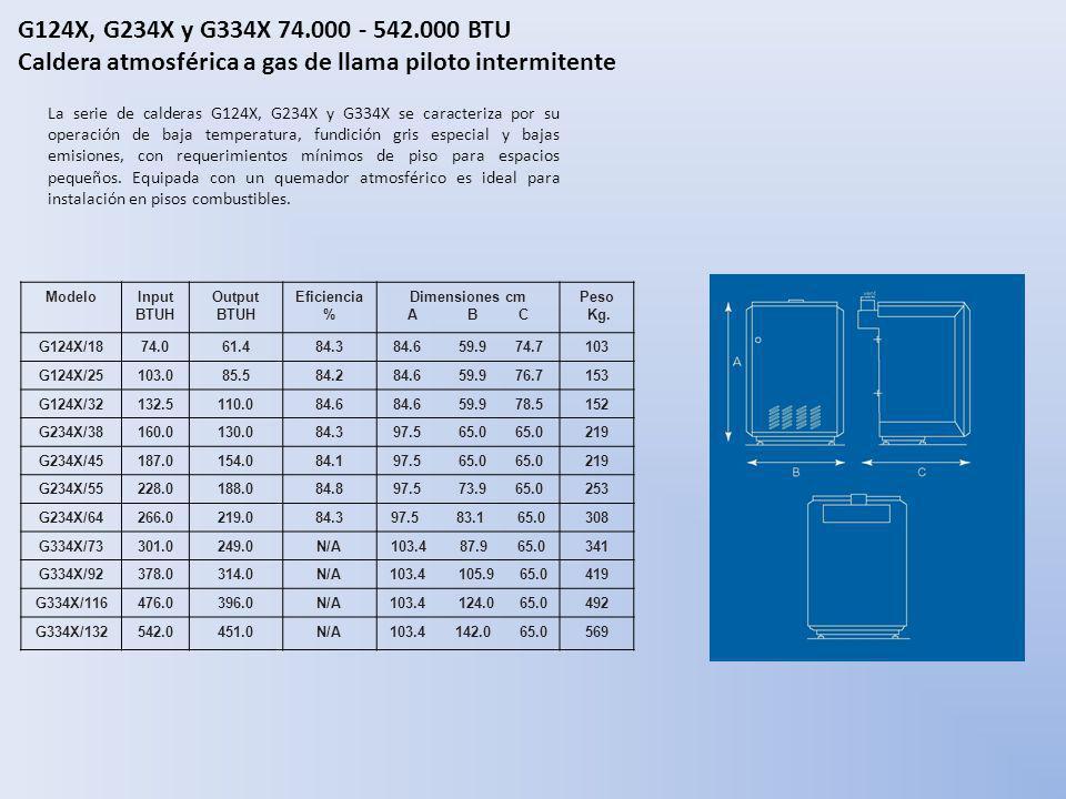 G124X, G234X y G334X 74.000 - 542.000 BTU Caldera atmosférica a gas de llama piloto intermitente La serie de calderas G124X, G234X y G334X se caracter