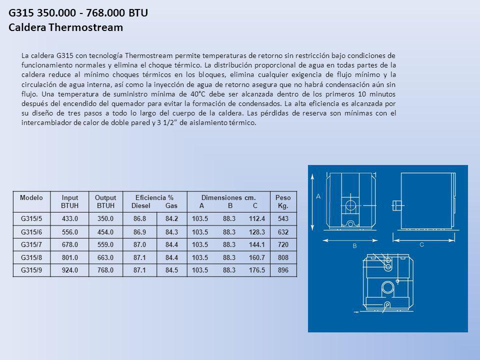G315 350.000 - 768.000 BTU Caldera Thermostream La caldera G315 con tecnología Thermostream permite temperaturas de retorno sin restricción bajo condi