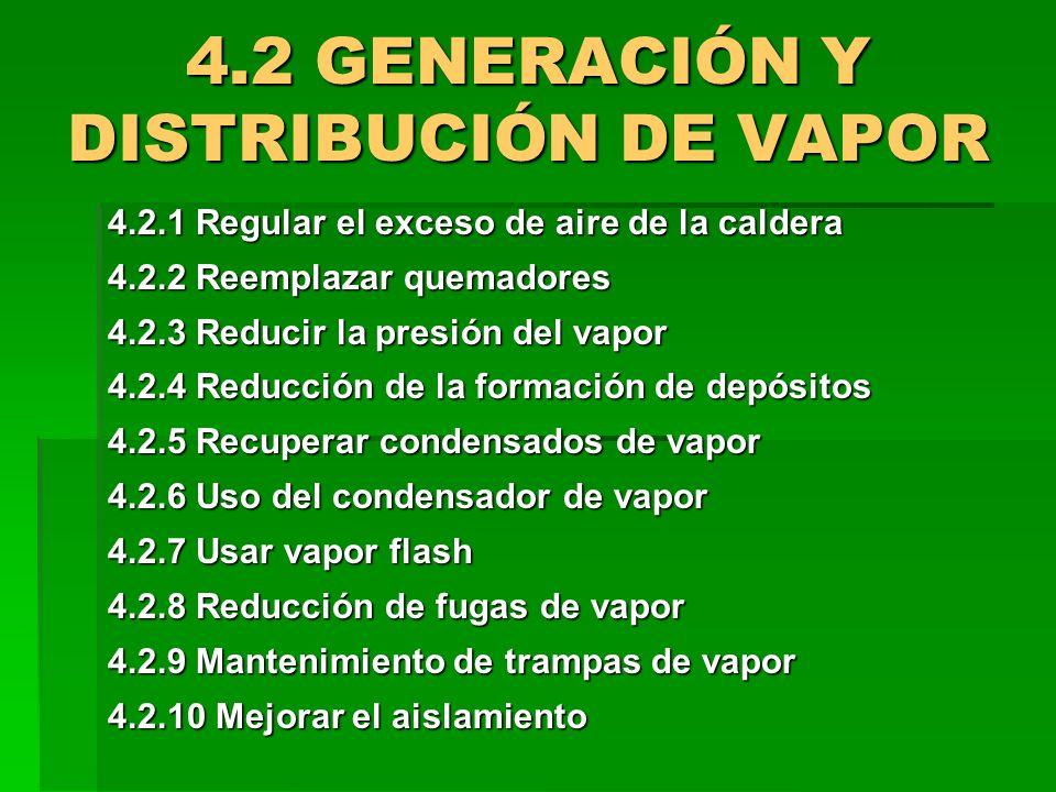 4.2 GENERACIÓN Y DISTRIBUCIÓN DE VAPOR 4.2.1 Regular el exceso de aire de la caldera 4.2.2 Reemplazar quemadores 4.2.3 Reducir la presión del vapor 4.