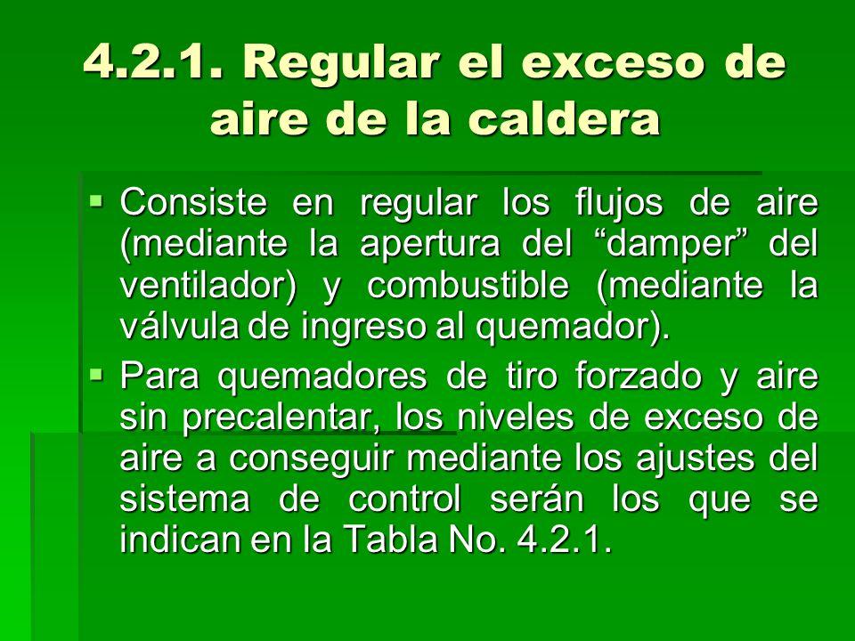 4.2.1. Regular el exceso de aire de la caldera Consiste en regular los flujos de aire (mediante la apertura del damper del ventilador) y combustible (
