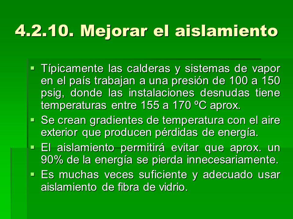 4.2.10. Mejorar el aislamiento Típicamente las calderas y sistemas de vapor en el país trabajan a una presión de 100 a 150 psig, donde las instalacion