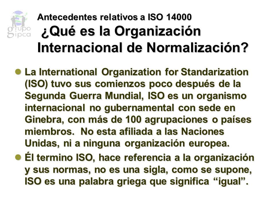 Antecedentes relativos a ISO 14000 ¿Quienes forman parte de ISO.