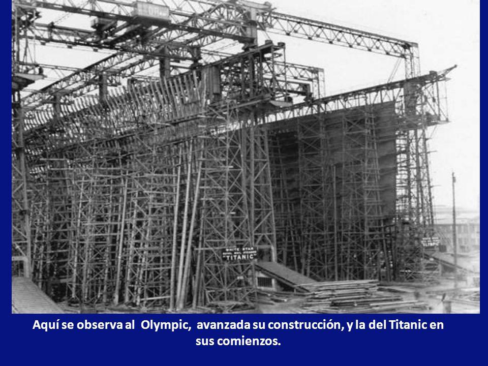 Para la construcción del Olympic y el Titanic se levantó un enorme pórticoo de acero sobre las nuevas gradas.