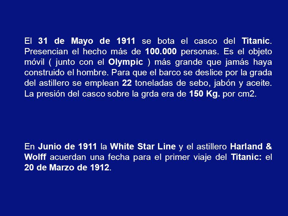 El 31 de Mayo de 1911 se bota el casco del Titanic.