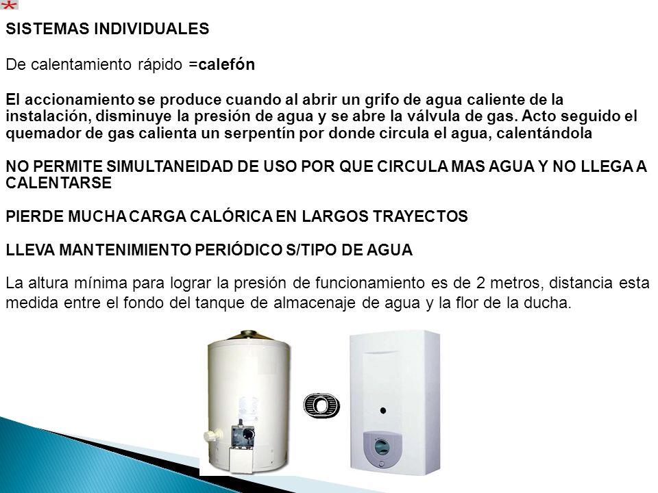 SISTEMAS INDIVIDUALES De calentamiento rápido =calefón El accionamiento se produce cuando al abrir un grifo de agua caliente de la instalación, dismin