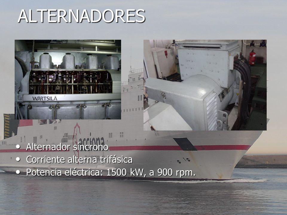 ALTERNADORES Alternador síncrono Alternador síncrono Corriente alterna trifásica Corriente alterna trifásica Potencia eléctrica: 1500 kW, a 900 rpm. P