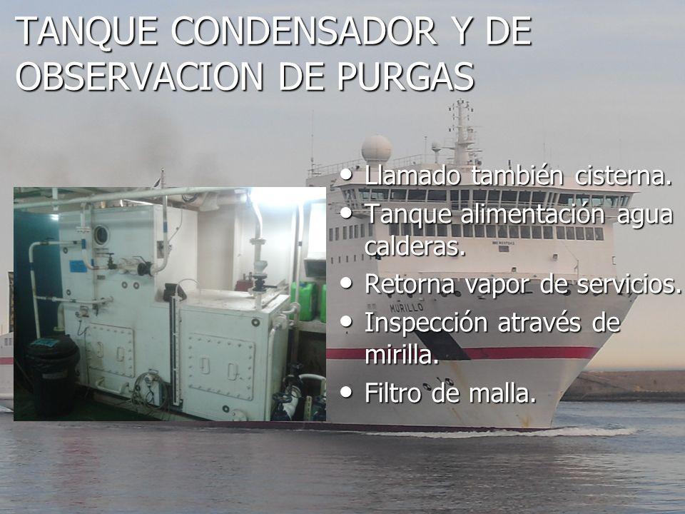 TANQUE CONDENSADOR Y DE OBSERVACION DE PURGAS Llamado también cisterna. Llamado también cisterna. Tanque alimentación agua calderas. Tanque alimentaci