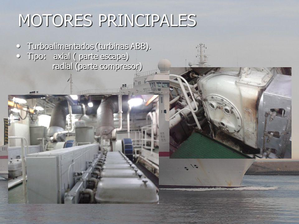 MOTORES PRINCIPALES Turboalimentados (turbinas ABB). Turboalimentados (turbinas ABB). Tipo: axial ( parte escape) Tipo: axial ( parte escape) radial (