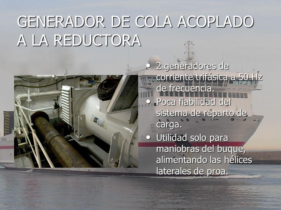GENERADOR DE COLA ACOPLADO A LA REDUCTORA 2 generadores de corriente trifásica a 50 Hz de frecuencia. 2 generadores de corriente trifásica a 50 Hz de