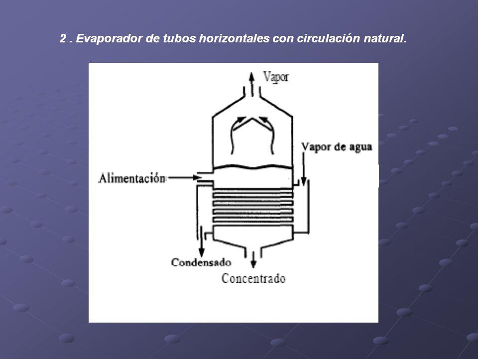 2. Evaporador de tubos horizontales con circulación natural.