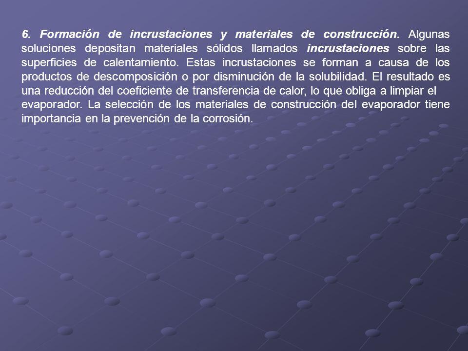 6. Formación de incrustaciones y materiales de construcción. Algunas soluciones depositan materiales sólidos llamados incrustaciones sobre las superfi