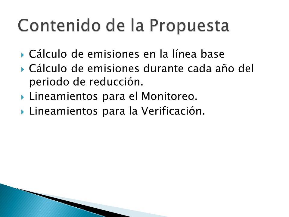 Cálculo de emisiones en la línea base Cálculo de emisiones durante cada año del periodo de reducción. Lineamientos para el Monitoreo. Lineamientos par