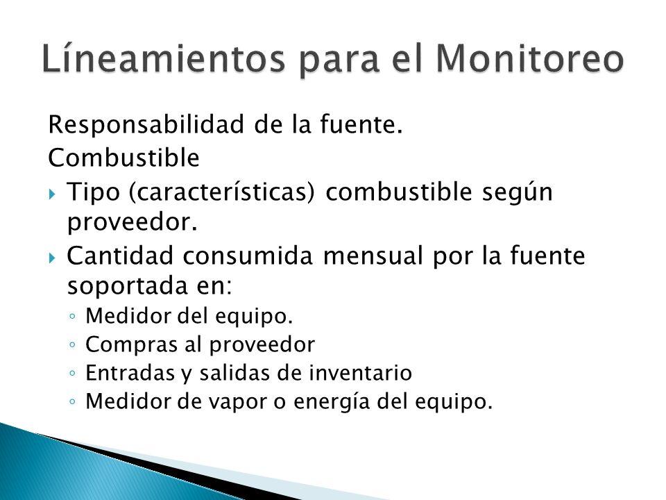 Responsabilidad de la fuente. Combustible Tipo (características) combustible según proveedor. Cantidad consumida mensual por la fuente soportada en: M