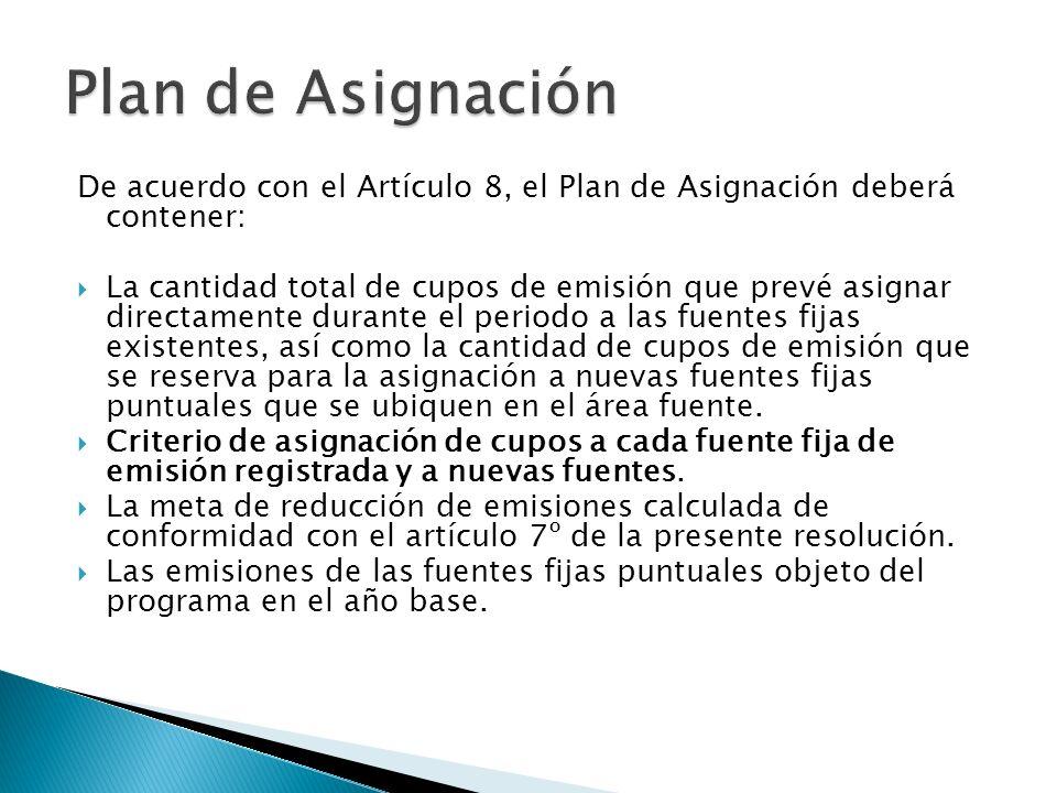 De acuerdo con el Artículo 8, el Plan de Asignación deberá contener: La cantidad total de cupos de emisión que prevé asignar directamente durante el p
