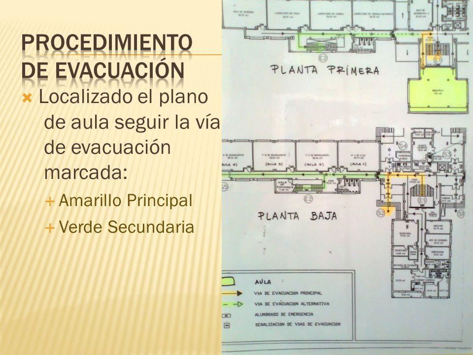 Localizado el plano de aula seguir la vía de evacuación marcada: Amarillo Principal Verde Secundaria