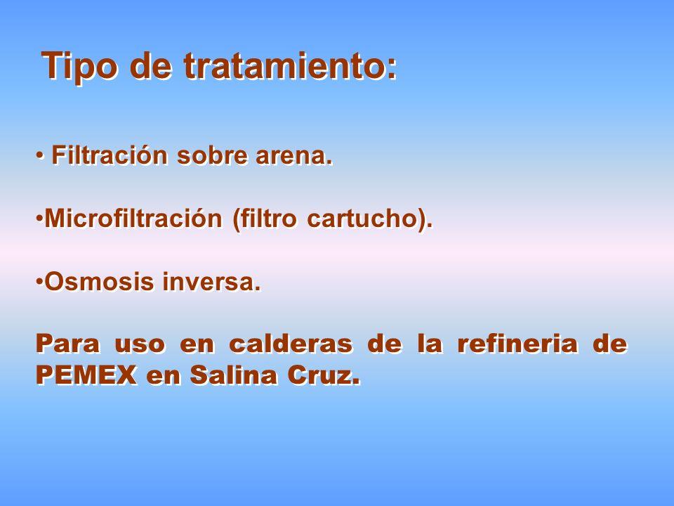 Tipo de tratamiento: Filtración sobre arena. Microfiltración (filtro cartucho). Osmosis inversa. Para uso en calderas de la refineria de PEMEX en Sali