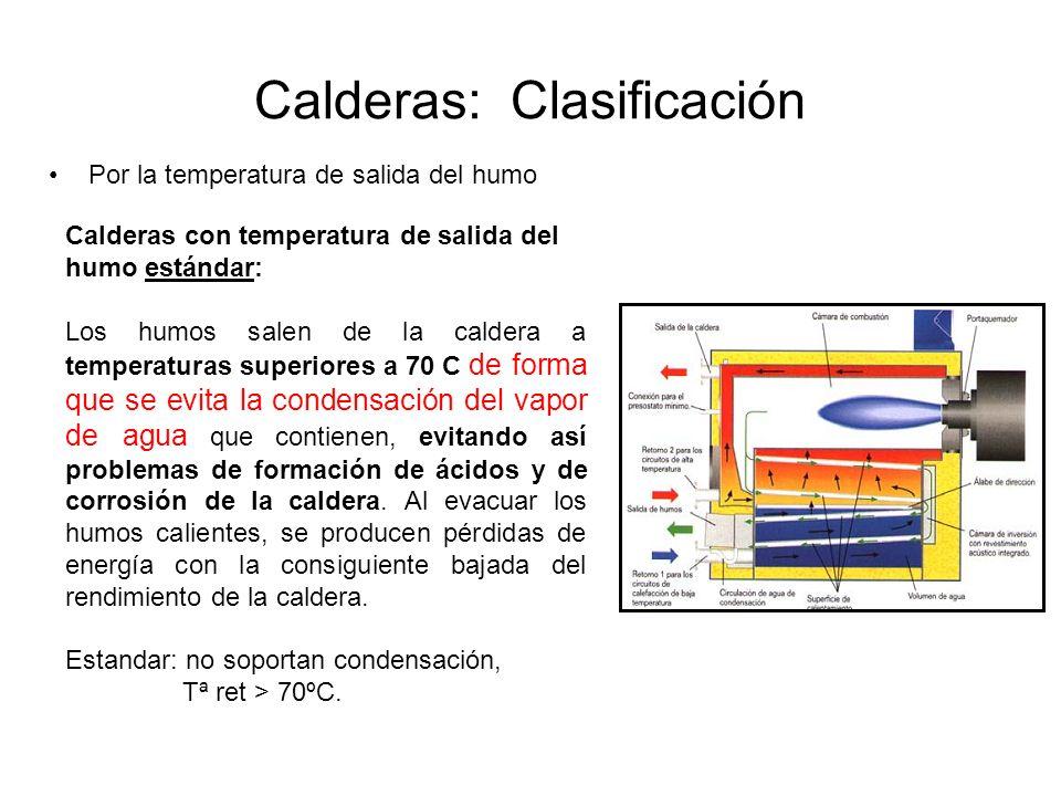 Calderas: Clasificación Por la temperatura de salida del humo Calderas con temperatura de salida del humo estándar: Los humos salen de la caldera a te
