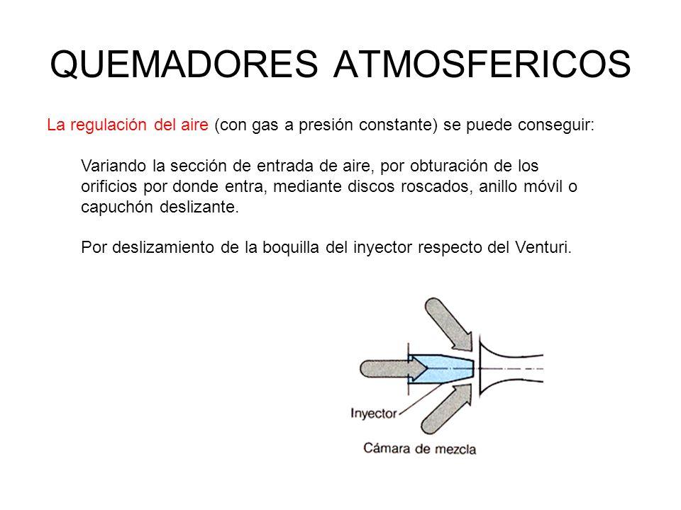 QUEMADORES ATMOSFERICOS La regulación del aire (con gas a presión constante) se puede conseguir: Variando la sección de entrada de aire, por obturació