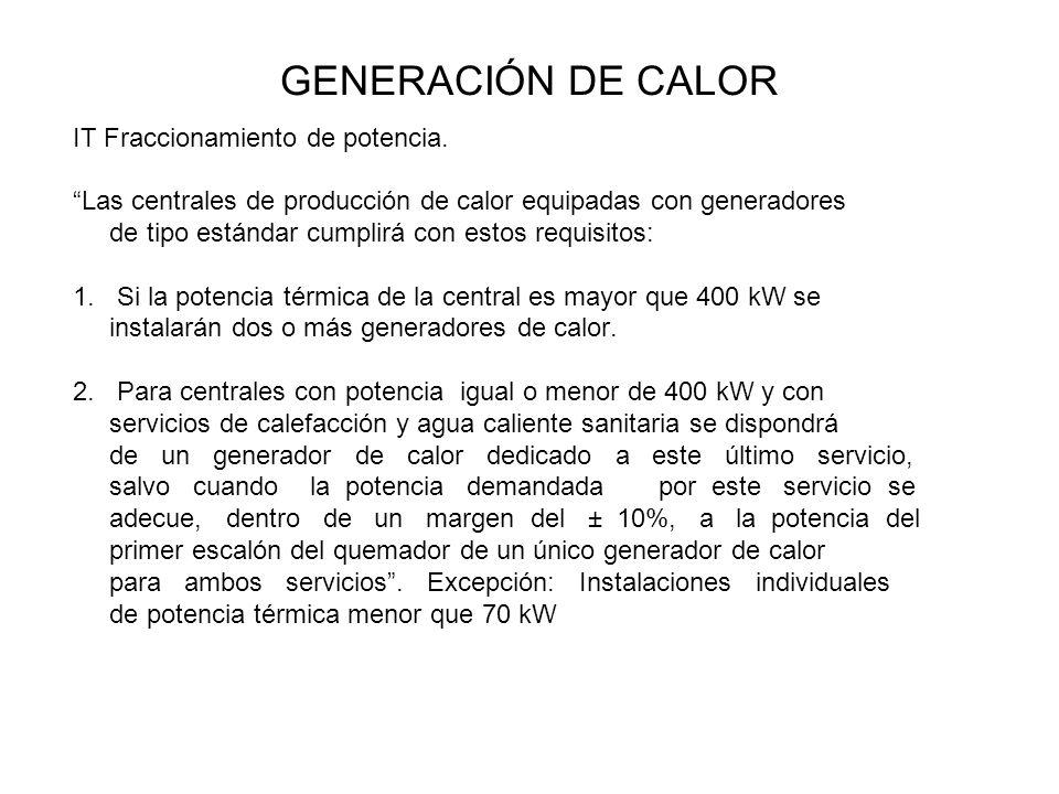 GENERACIÓN DE CALOR IT Fraccionamiento de potencia. Las centrales de producción de calor equipadas con generadores de tipo estándar cumplirá con estos
