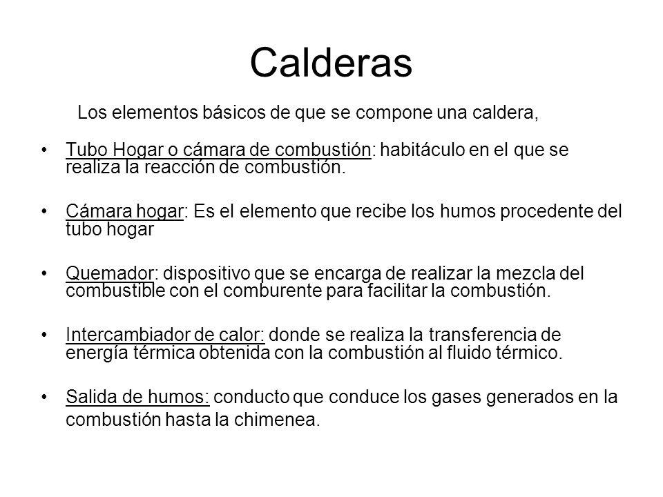 Calderas Partes: Hogar Quemador Humos Intercambiador de calor Fluido caloportador Chimenea.