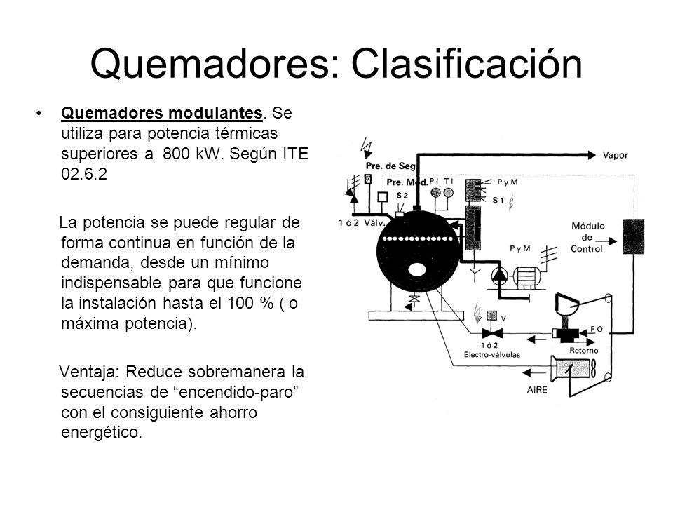 Quemadores: Clasificación Quemadores modulantes. Se utiliza para potencia térmicas superiores a 800 kW. Según ITE 02.6.2 La potencia se puede regular