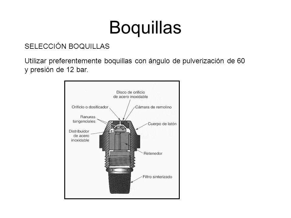 Boquillas SELECCIÓN BOQUILLAS Utilizar preferentemente boquillas con ángulo de pulverización de 60 y presión de 12 bar.