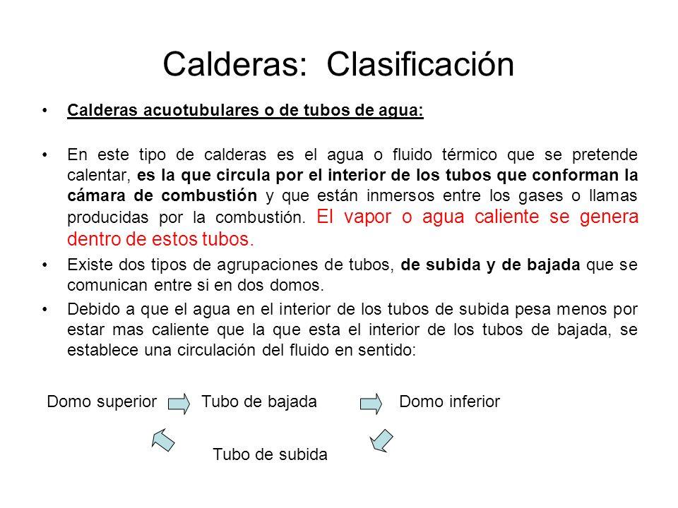 Calderas: Clasificación Calderas acuotubulares o de tubos de agua: En este tipo de calderas es el agua o fluido térmico que se pretende calentar, es l
