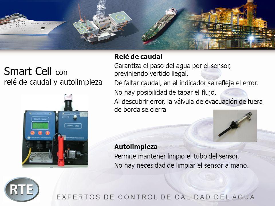 EXPERTOS DE CONTROL DE CALIDAD DEL AGUA Smart Cell con relé de caudal y autolimpieza Relé de caudal Garantiza el paso del agua por el sensor, previnie