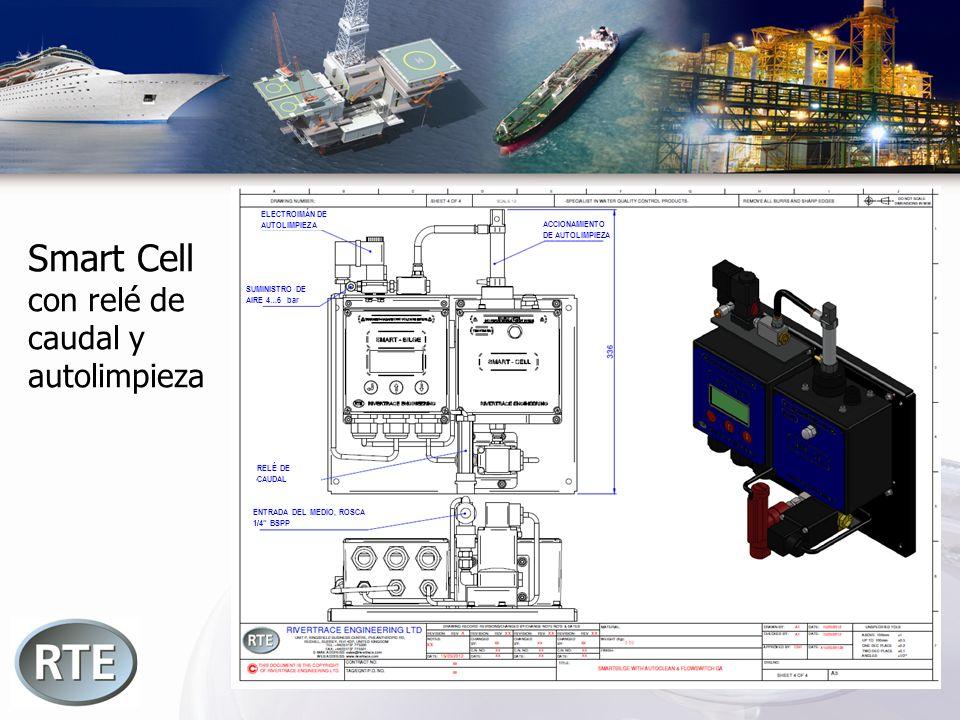 Smart Cell con relé de caudal y autolimpieza RELÉ DE CAUDAL ENTRADA DEL MEDIO, ROSCA 1/4 BSPP SUMINISTRO DE AIRE 4…6 bar ELECTROIMÁN DE AUTOLIMPIEZA A