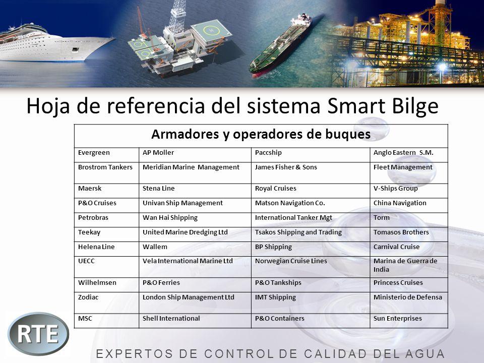 EXPERTOS DE CONTROL DE CALIDAD DEL AGUA Hoja de referencia del sistema Smart Bilge Armadores y operadores de buques EvergreenAP MollerPaccshipAnglo Ea