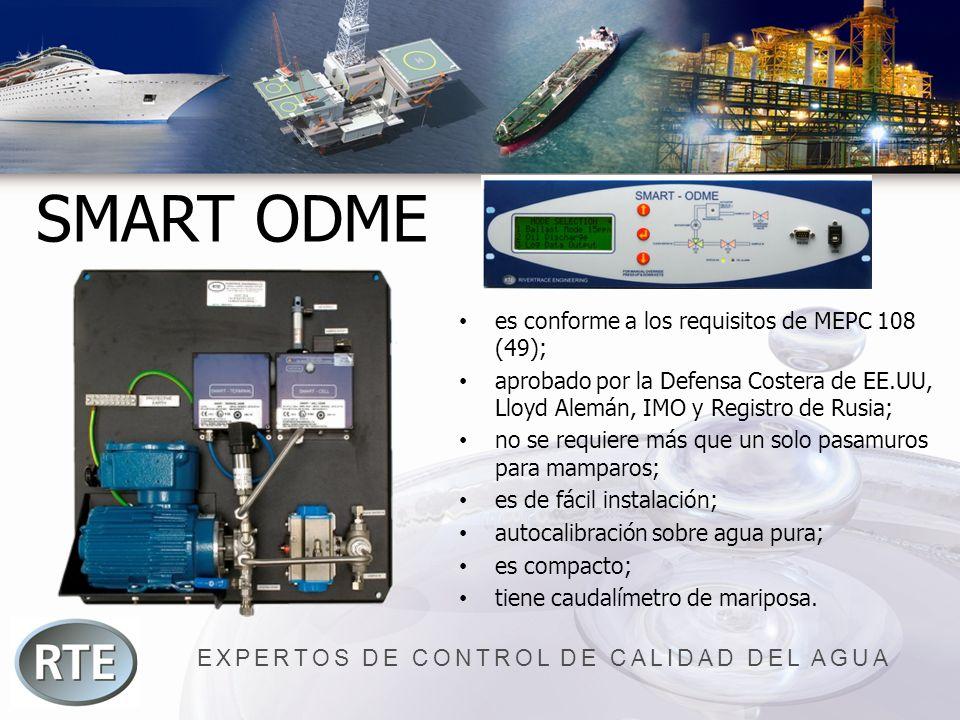 EXPERTOS DE CONTROL DE CALIDAD DEL AGUA SMART ODME es conforme a los requisitos de MEPC 108 (49); aprobado por la Defensa Costera de EE.UU, Lloyd Alem