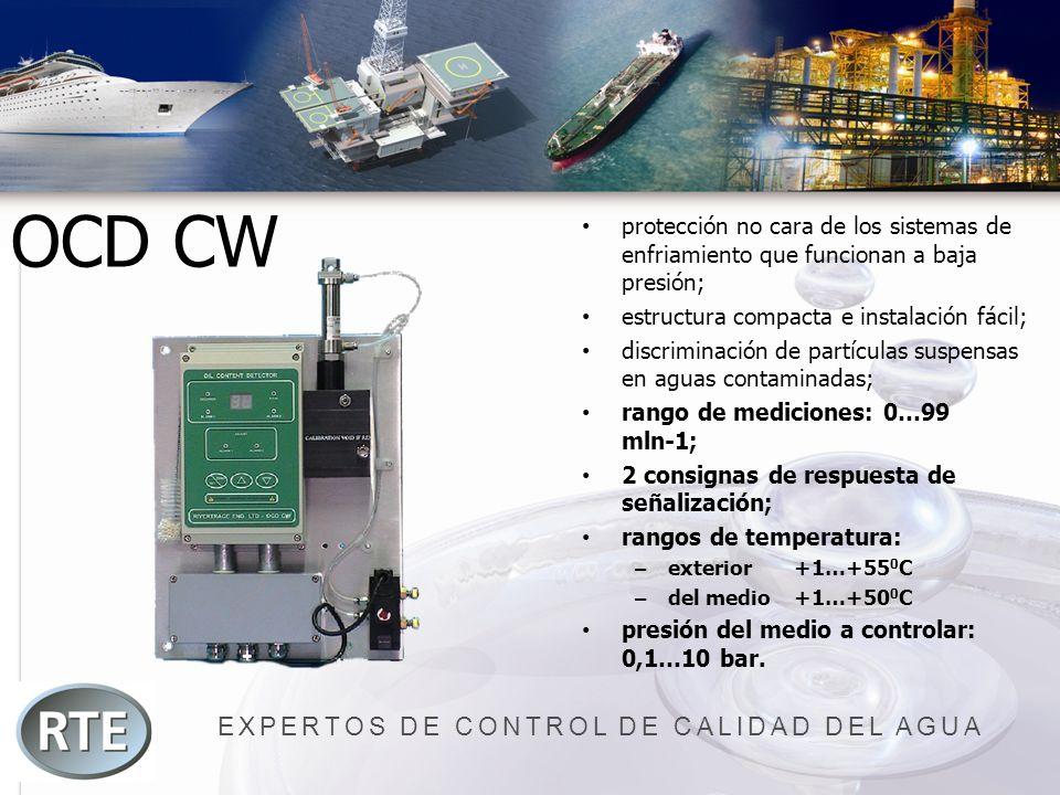 EXPERTOS DE CONTROL DE CALIDAD DEL AGUA OCD CW protección no cara de los sistemas de enfriamiento que funcionan a baja presión; estructura compacta e