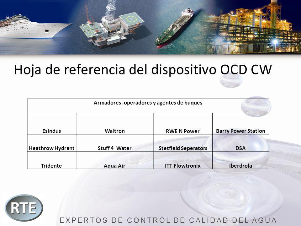 EXPERTOS DE CONTROL DE CALIDAD DEL AGUA Hoja de referencia del dispositivo OCD CW Armadores, operadores y agentes de buques EsindusWaltronRWE N PowerB